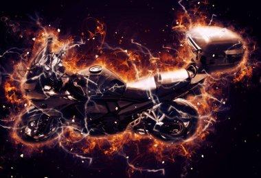 Motosiklet görüntüleme rengi izole edilmiş sanat antika retro