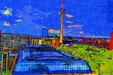 "Картина, постер, плакат, фотообои ""берлинская панорама с телебашней и рекой спри на закате, германия страны"", артикул 457108364"