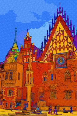 Market Square with Town Hall in Wroclaw, Poland early in the morning. Colorful cities concept.
