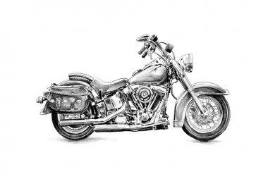 Motor cycle llustration drawing isolated art