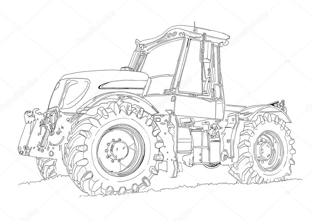 agricultural tractor illustration drawing stock