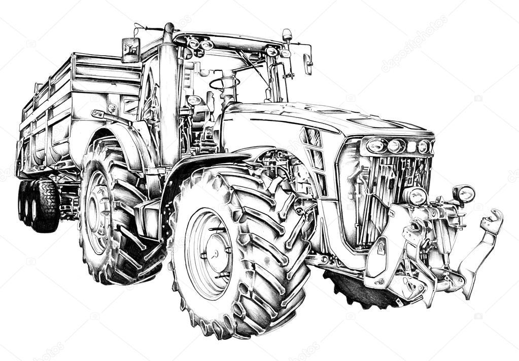 trator agrícola ilustração arte desenho — fotografias de