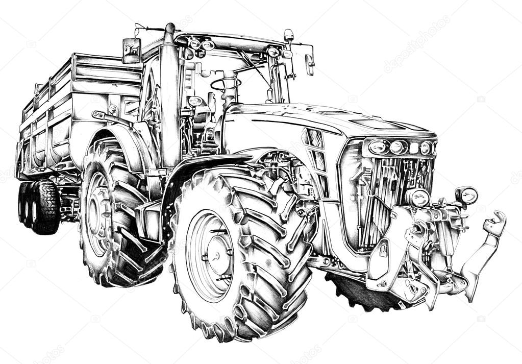 landbouw trekker illustratie tekening stockfoto