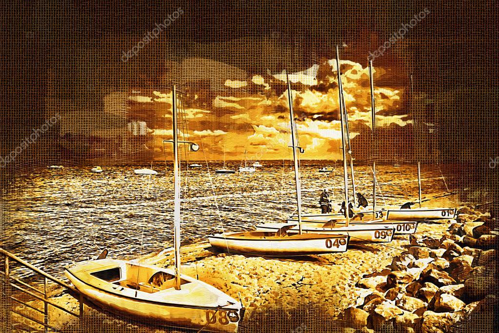 Deniz Ve Deniz Araçları Boyama Stok Foto Maxtor7777 77403514