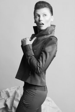 Art fashion concept. Portrait of androgynous model with short ha