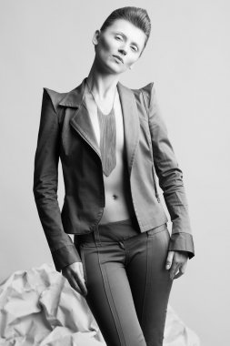 High fashion concept. Portrait of androgynous model with short h