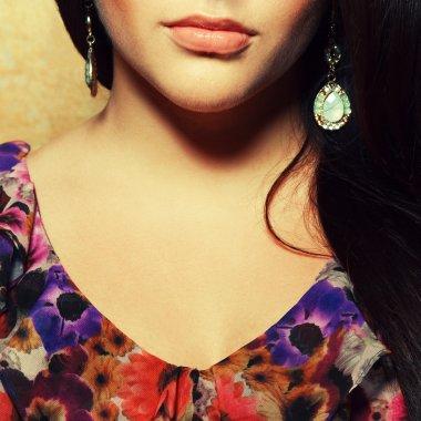 Seductive decollete concept. Portrait of beautiful brunette.