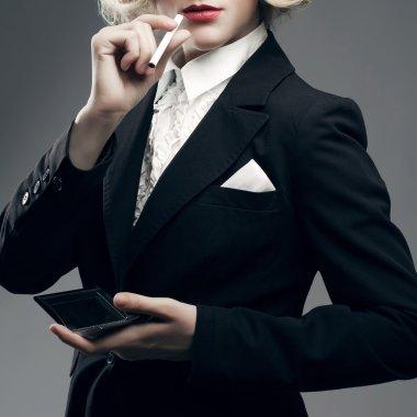 Femme fatale concept. Marlene Dietrich style. Close up retro portrait