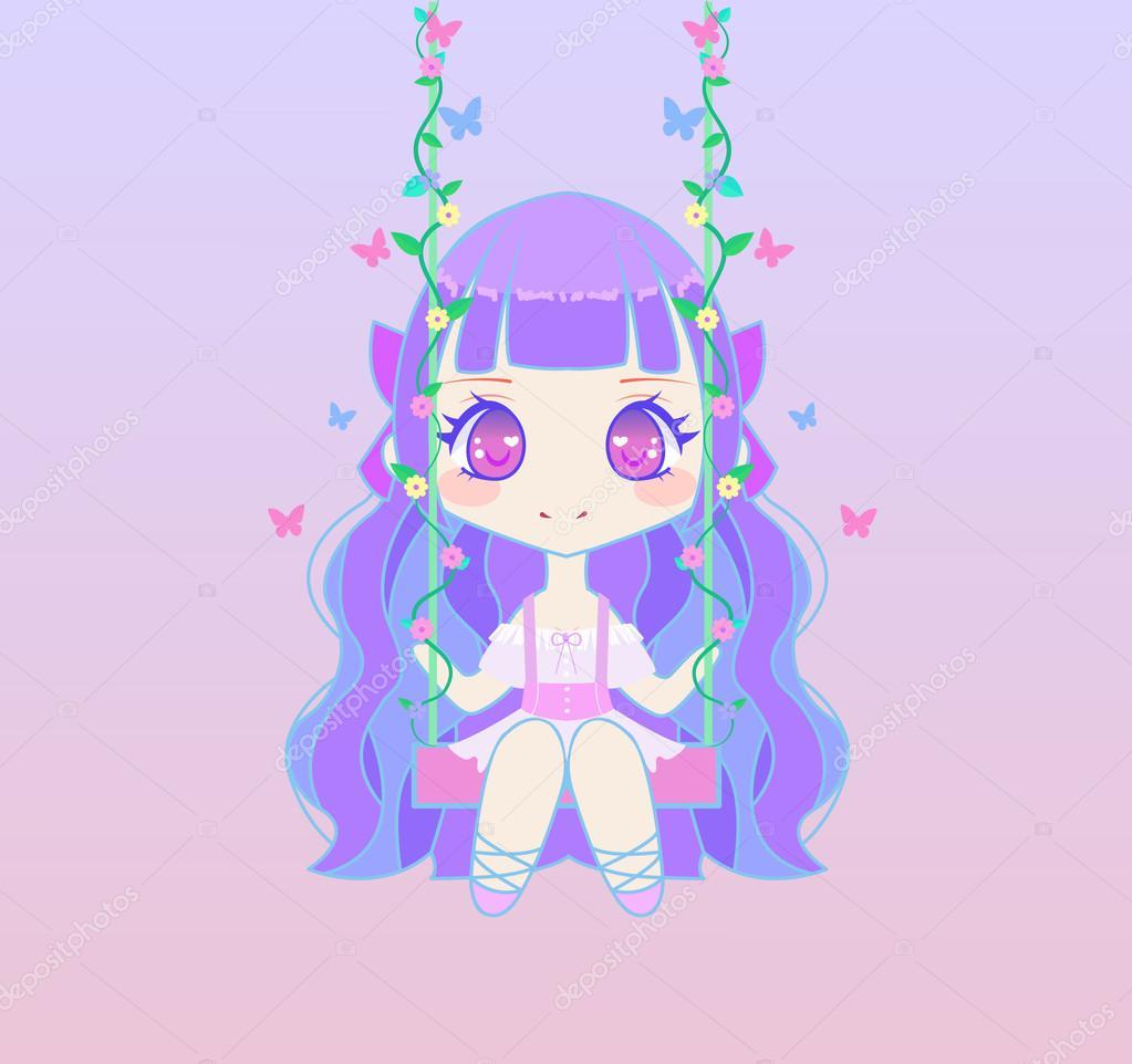Süße Anime Fee Mädchen auf Schaukel — Stockvektor © midori #103116186