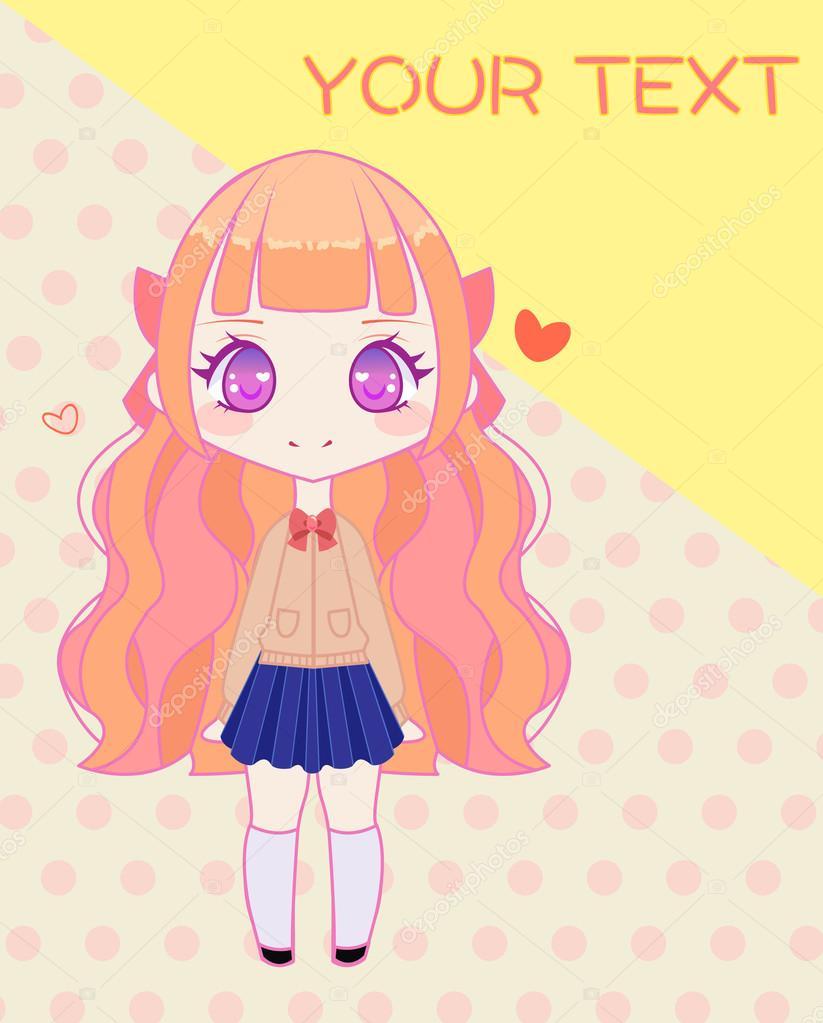 Cute anime school girl template stock vector