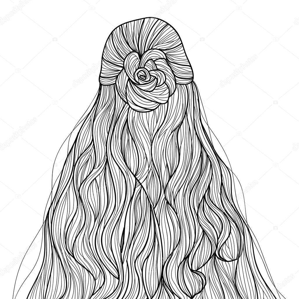 Fryzura Długie Włosy Styl Szkic Grafika Wektorowa Midori 111021058
