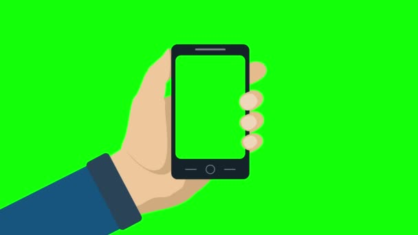 Smartphone with green screen in hand.