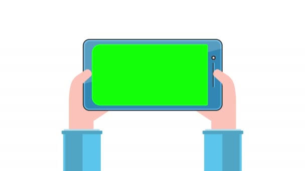 Tablet pc with green screen in hands