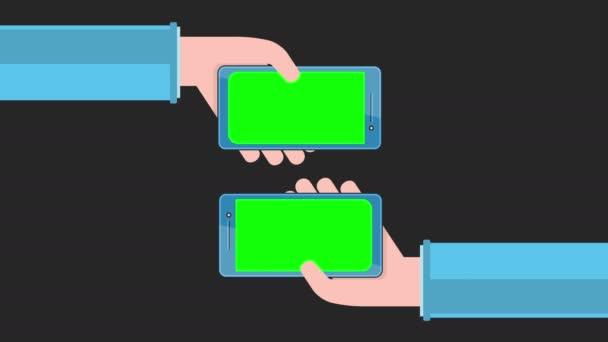 Smartphones with green screen in hands