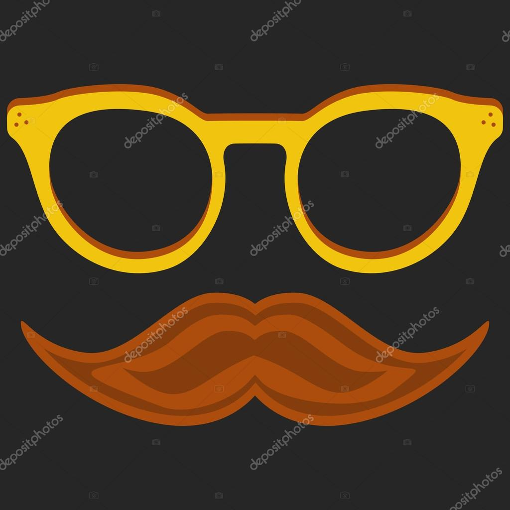 Hipster Nerd Glasses And Stylish Mustache On Black Stock Vector