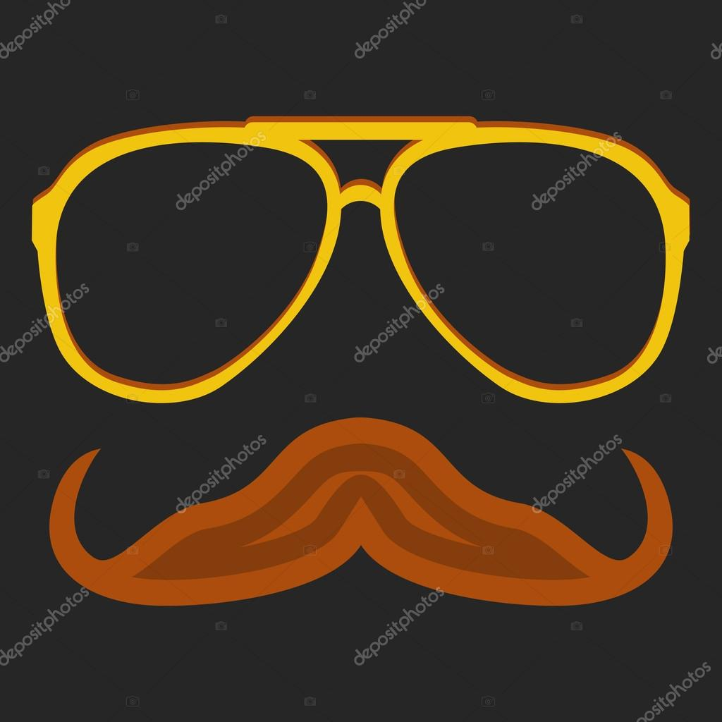 Hipster nerd glasses and stylish mustache on black — Stock Vector ...