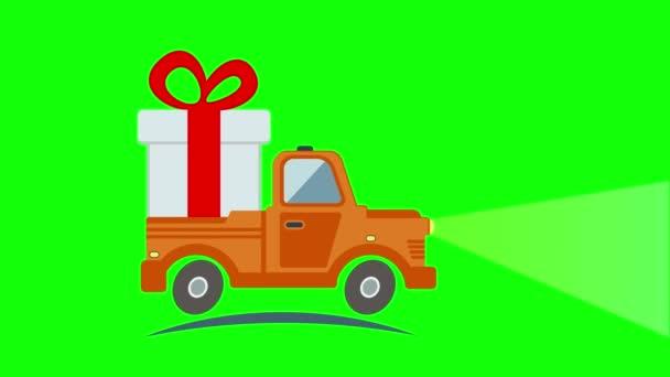 Plochý přeprava nákladní automobil, van s Dárkový box