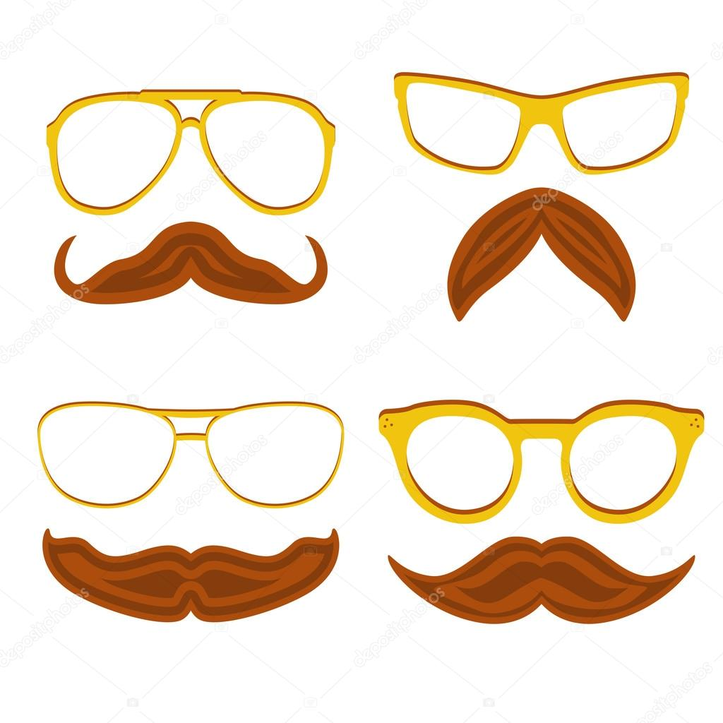 Set Of Hipster Nerd Glasses And Stylish Mustaches Isolated On White