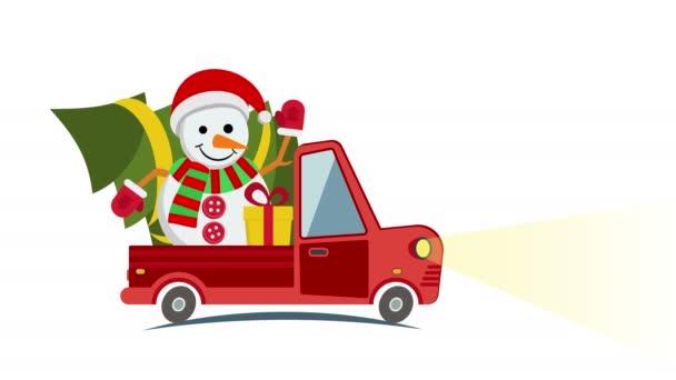 Plochý přeprava nákladní automobil, van s vánočními strom sněhulák a Dárkový box