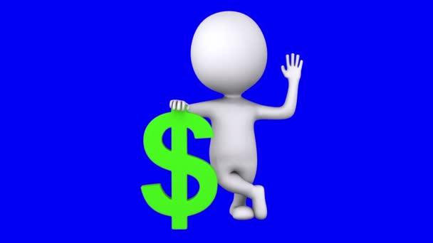 3D bílý muž stojí s zeleným znak dolaru
