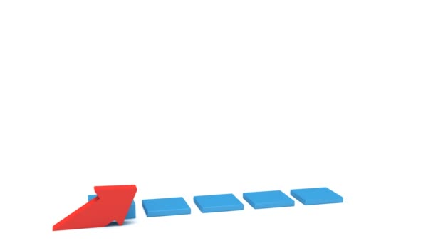 3d blue bar graph with red arrow