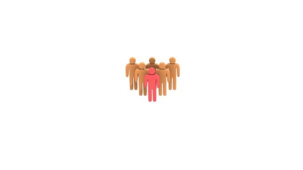 animace skupina stylizované lidí s teamleader