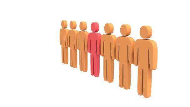 Animationsgruppe stilisierter Menschen mit Teamleiter