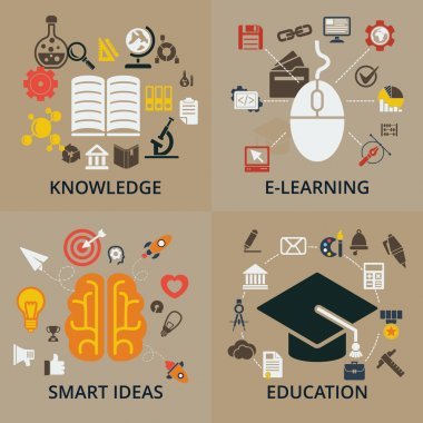 Set of 4 vector concept icons for education.