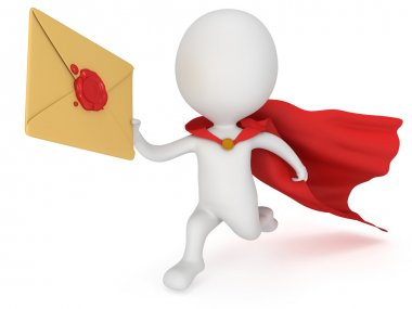 3d man brave superhero and mail envelope