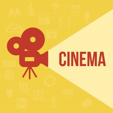 Cinema retro projector highlights word cinema. Template vector concept. stock vector