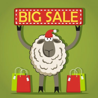 Santa Sheep with Big Sale banner