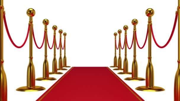 Animation of golden rope barrier with red carpet