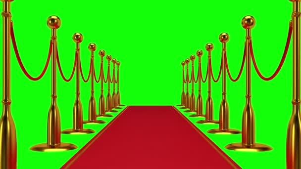 Animace zlaté lanové překážky s červený koberec