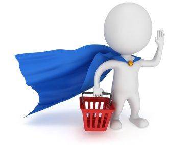 Brave superhero merchandiser with blue cloak