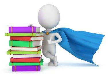 Brave superhero student with blue cloak
