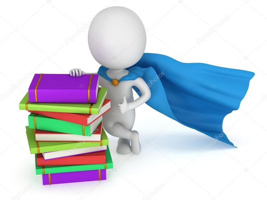 Profesor valiente superhéroe con capa azul — Fotos de Stock © newb1 ...