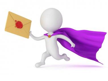 Brave superhero mailman with envelope