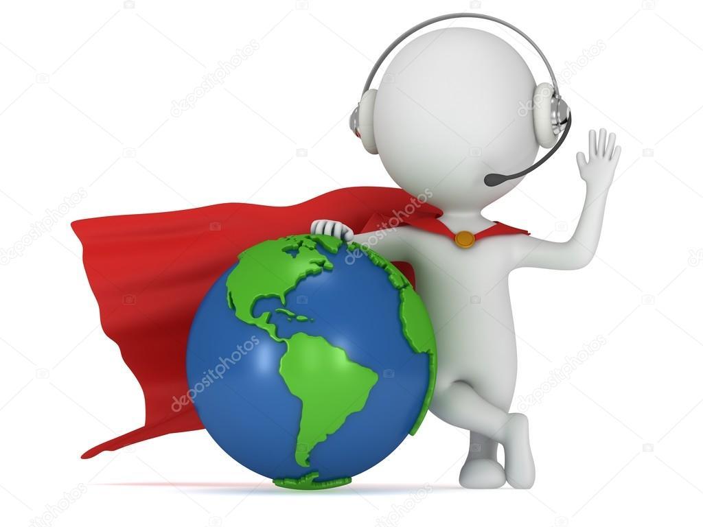 Brave Superhero In Headpones And World Sphere Stock Photo C Newb1 59328243