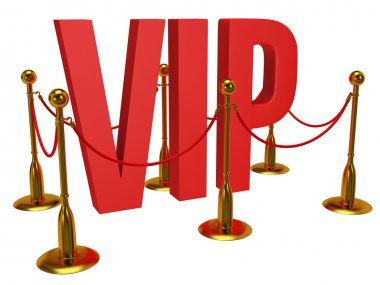 Huge 3d letters VIP and golden rope barrier