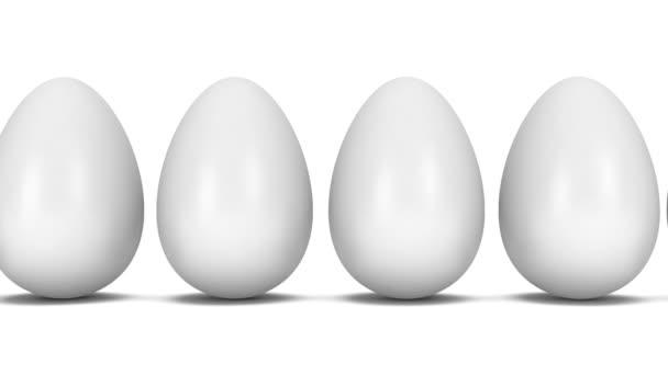Sorban a fehér arany-tojás tojás animáció