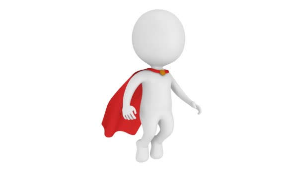 Az ember bátor szuperhős a piros köpeny lebeg fent