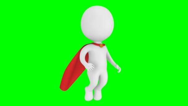 Statečný superhrdina s pláštěm letět nad