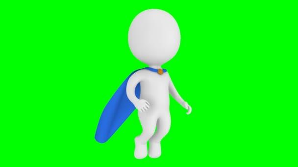 Coraggioso supereroe con mantello volare sopra
