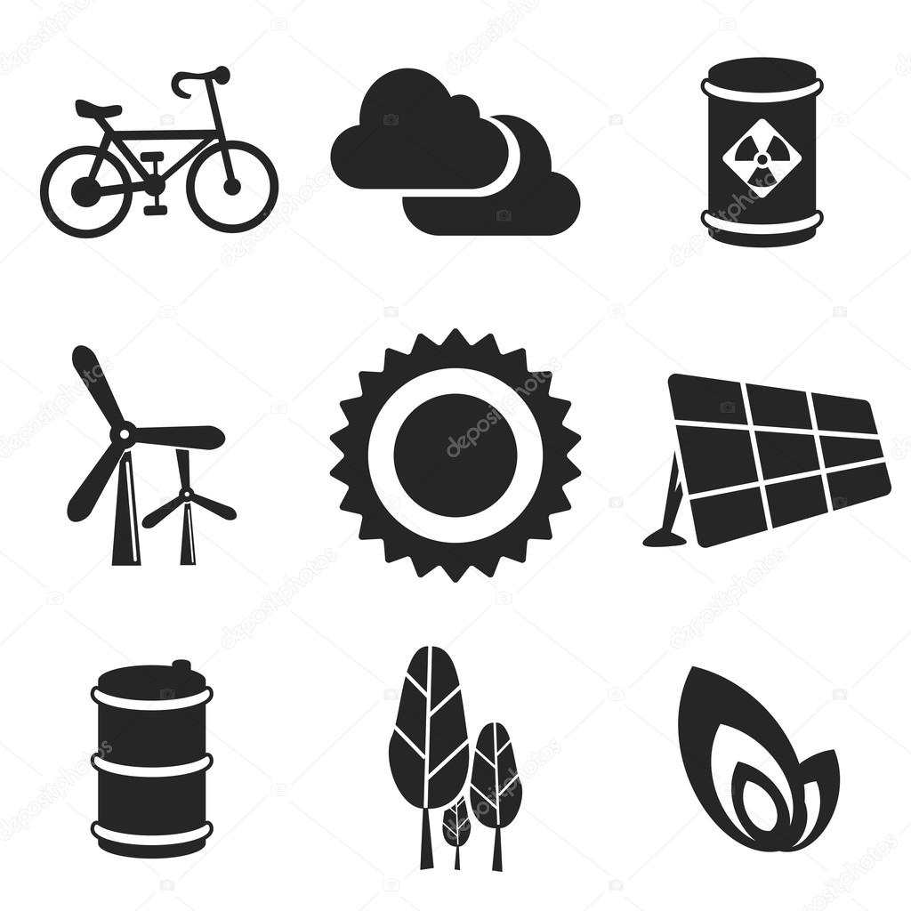 Ecology web and mobile icons set. Vector.