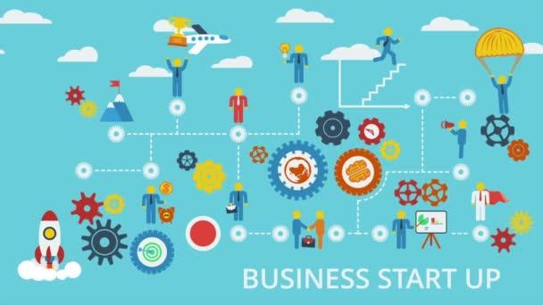 Vstup do podnikání. Animované schéma s lidmi