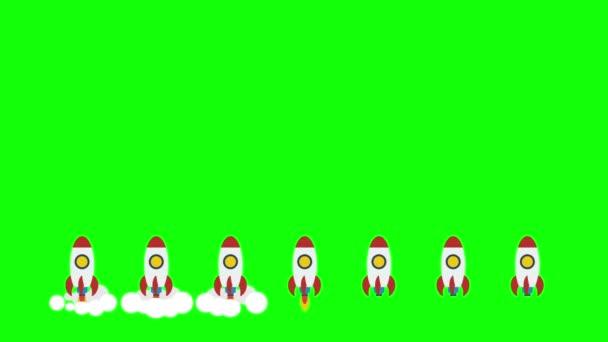 Rocket space ships take off