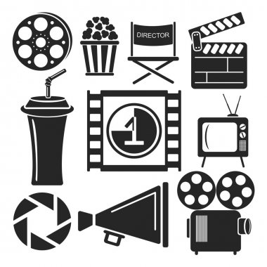 Set of 9 cinema web and mobile icons. Vector.