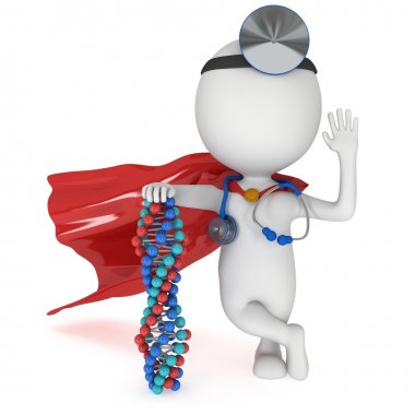 Superhero Doctor with DNA chain