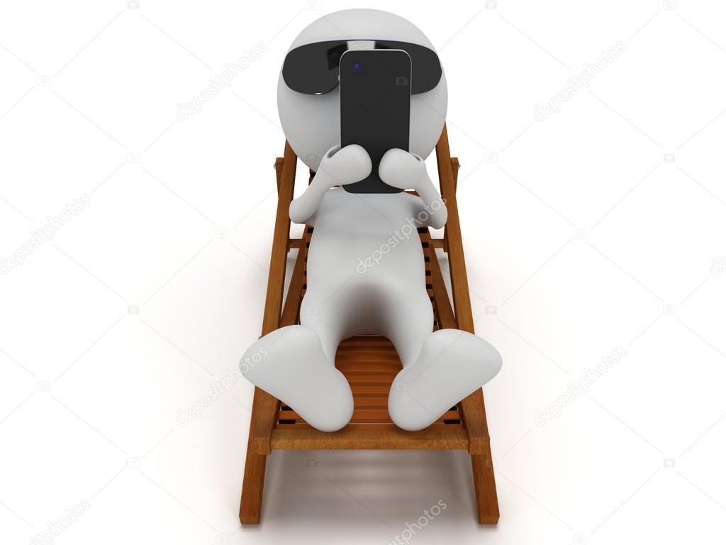 3D hombre blanco en vacaciones tumbado en una silla de playa con  smartphone. render 3D aislado en blanco. Charlar y relajarse concepto —  Foto de newb1 c0b59961e31c