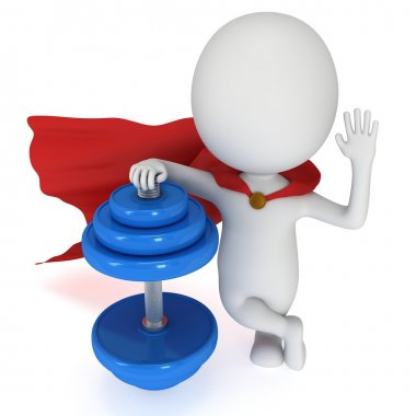 3d superhero presenting red dumbbell